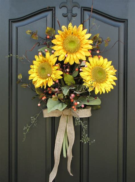 sunflower bouquet front door decor summer wreath