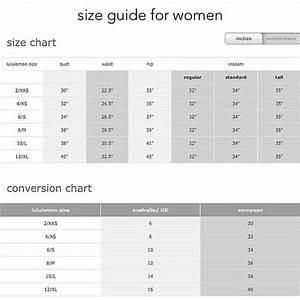 Lululemon Mens Size Chart Lululemon Size Chart Bra Size Charts Lularoe Size Chart