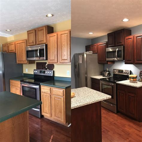 our before and after kitchen general finishes gel stain