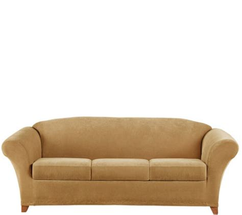 sure fit sofa cover 3 sure fit stretch pique 3 seat sofa slipcover qvc