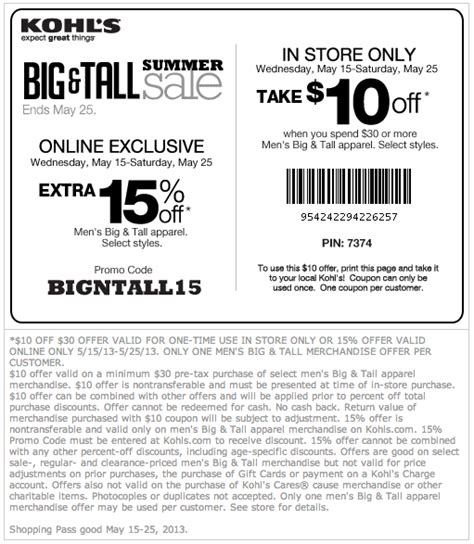 kohls coupons off