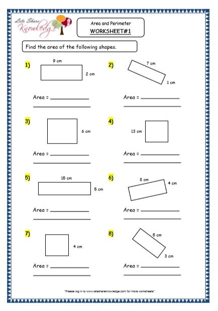 grade 4 maths resources 8 3 geometry area and perimeter