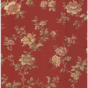 Brewster Madison Red Jacobean Floral Wallpaper Sample-282