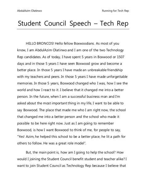 student council speech spg student council speech
