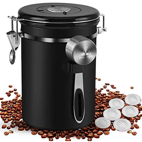 coffee canister oz stainless steel airtight bean storage container scoop jar  ebay