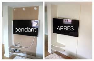 Fixer Tv Au Mur Sans Voir Les Fils : comment cacher les fils de la tv accroch e au mur recherche google cacher sa t l ~ Preciouscoupons.com Idées de Décoration