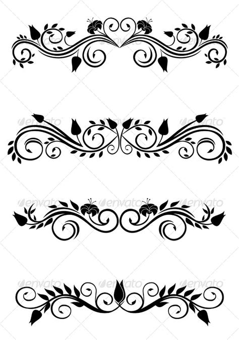 Vintage floral decorations isolated on white for design. Related terms: decoration, vector
