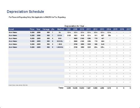 depreciation schedule template  straight