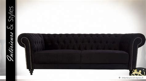 canape chesterfield tissu canapé style chesterfield tissu noir finition
