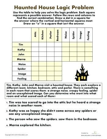 grade halloween printable fourth puzzles worksheets