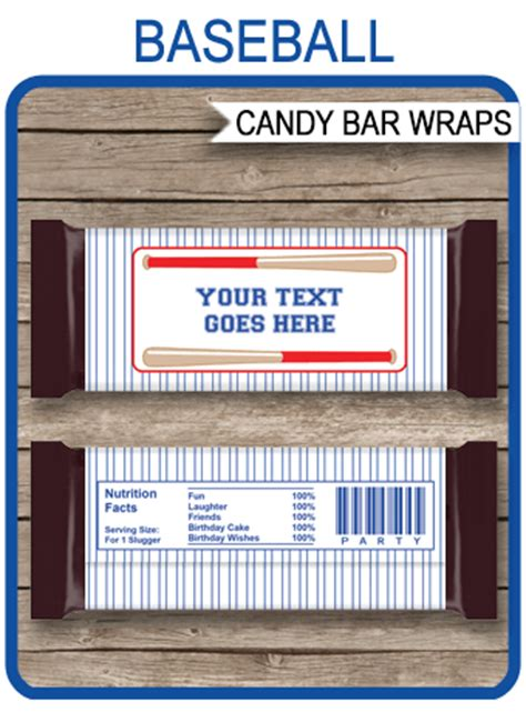 baseball hershey candy bar wrappers personalized candy bars