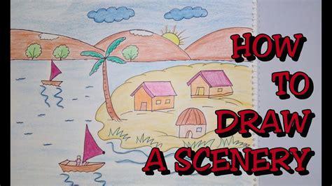 drawing tutorial   draw scenery step  step