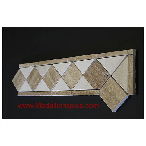 "Travertine and Marble Honed   Tile Border 4"" x 12"
