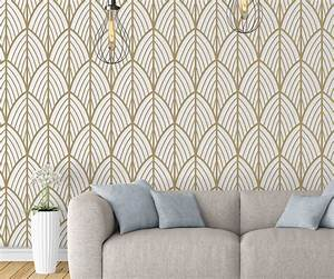 Art Deco Leaves Removable Wallpaper - Moonwallstickers com