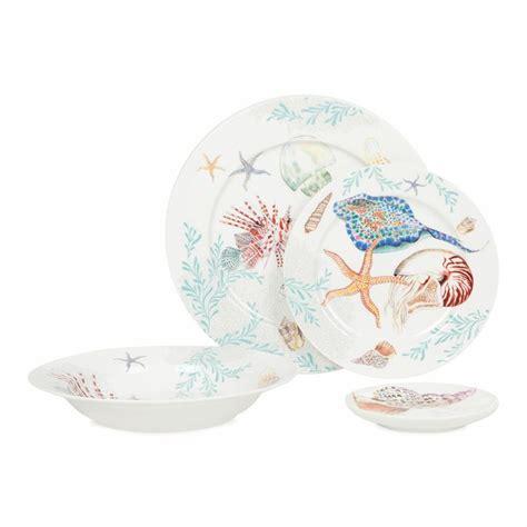 dinnerware beach dishes fish plates kitchen corelle plate coastal south zara sets tropical cottage dish decor zarahome decorative