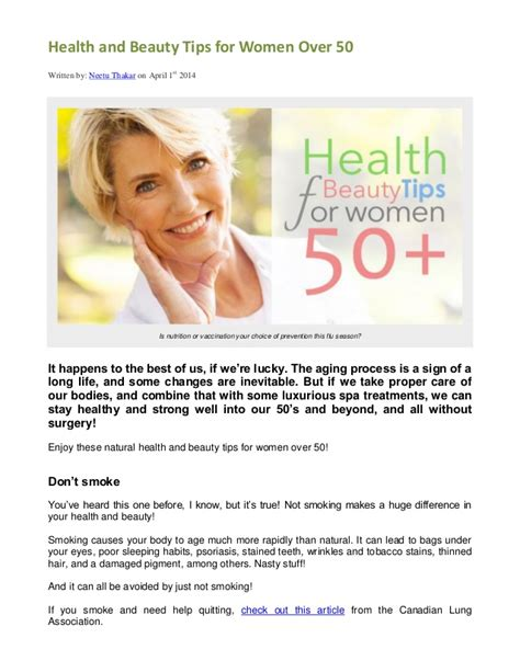 Health And Beauty Tips For Women Over 50