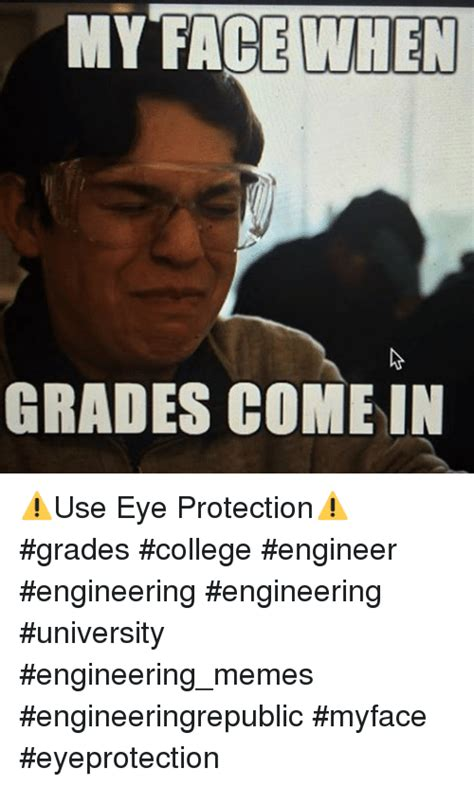 University Memes - my face when grades come in use eye protection grades college engineer engineering