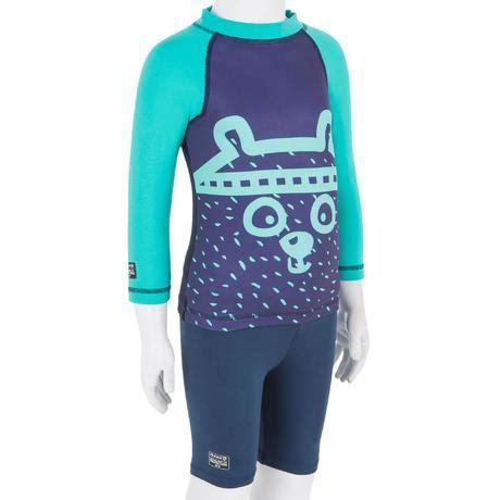 tee shirt anti uv surf top thermique polaire manches longues bebe bleu marine olaian