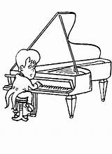 Piano Coloring Pages Player Clipart Play Sheet Cliparts Clip Library sketch template