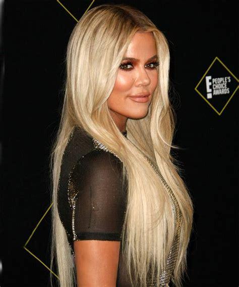 Khloe Kardashian Long Straight Blonde Hairstyle
