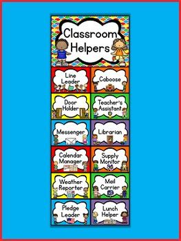 kids colors classroom helpers clip chart jobs chart
