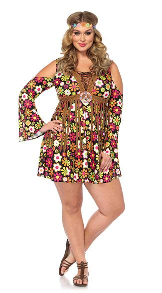 Plus Size Star Flower Hippie Costume Plus Size Colorful Hippie Costume Plus Size Sexy Hippie ...