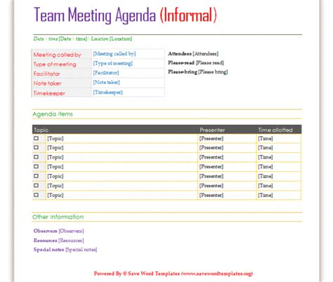 professional agenda template examples  meeting
