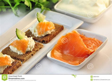 rye bread canapes canapes rye bread with ricotta cheese and smoked salmon stock images image 28954434