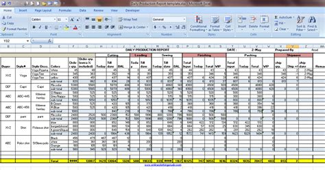 daily production report excel template