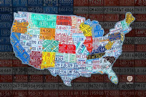 map   united states  vintage license plates