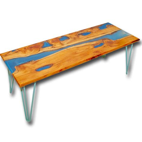 Live Edge Yew Wood & Blue Resin River Coffee Table