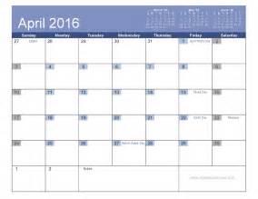 April 2016 Calendar with Holidays Printable Templates