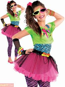Childs Girl 80s Costume Totally Awesome Teen Neon Disco Retro Fancy Dress Outfit | eBay