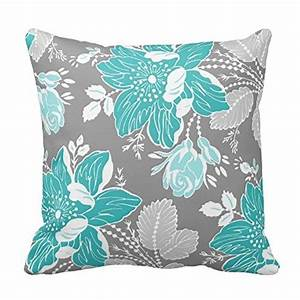 chic teal and gray floral pillow cover 129 free shipping With cheap gray throw pillows