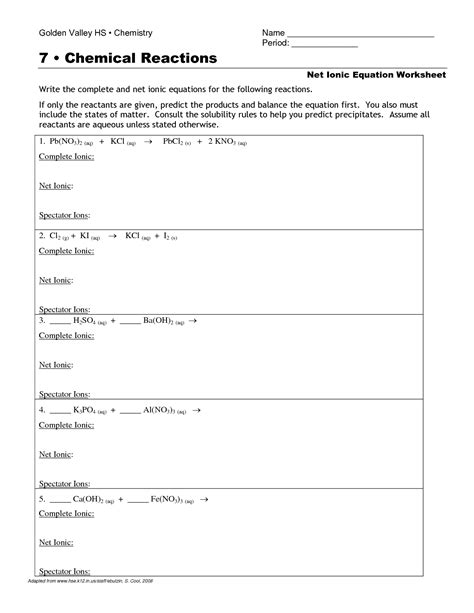 net ionic equations worksheet with answers image