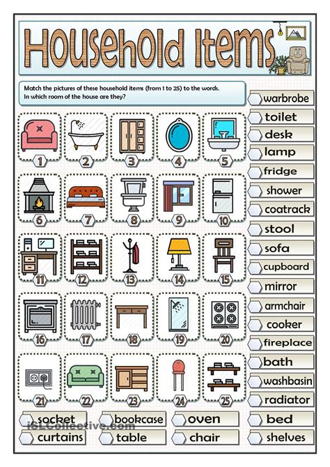 household items vocabulary exercice anglais
