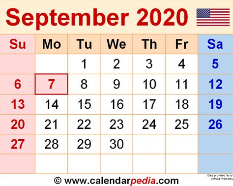september  calendar templates  word excel