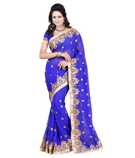 Fashion Sarees Pahal Fashion Blue And Beige Georgette Saree Buy Pahal