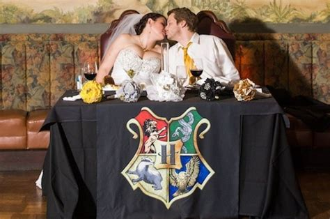 couples incredible harry potter themed wedding puts