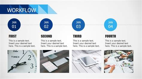 powerpoint workflow template horizontal four steps workflow for powerpoint slidemodel