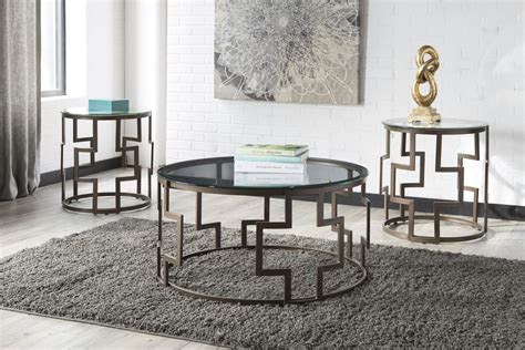 3 piece coffee table set for living room, sofa table set includes 1 coffee table and 2 end table, coffee table with wood panels and metal frame, living room furniture, brown with corss bottom 1 $155 99 FROSTINE GLASS PIECE COFFEE TABLE SET SIGNATURE DESIGN BY ASHLEY PRODUCT   furniture store in ...