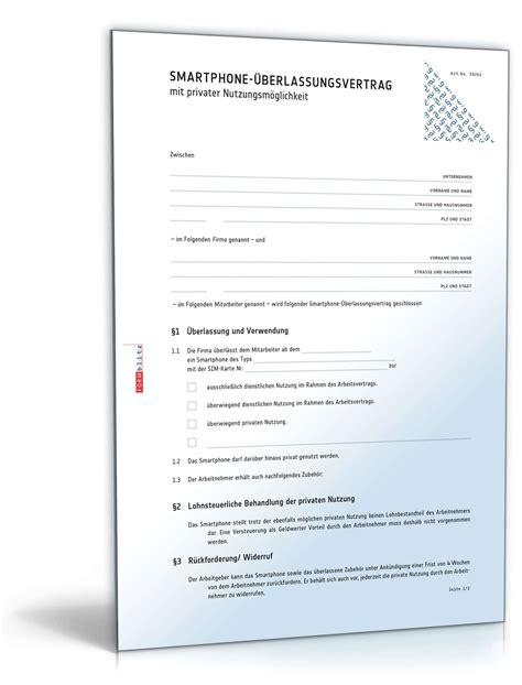 SmartphoneÜberlassungsvertrag  Muster Zum Download