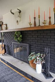 Black Painted Brick Fireplaces