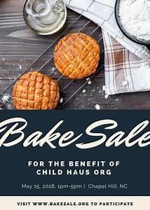 Free Daycare Logos White Black Modern Cookies Bake Sale Flyer Templates