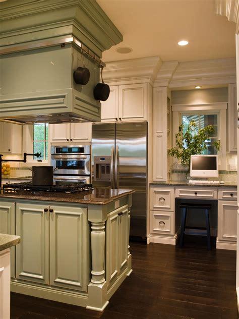 white french country kitchen  green island hgtv
