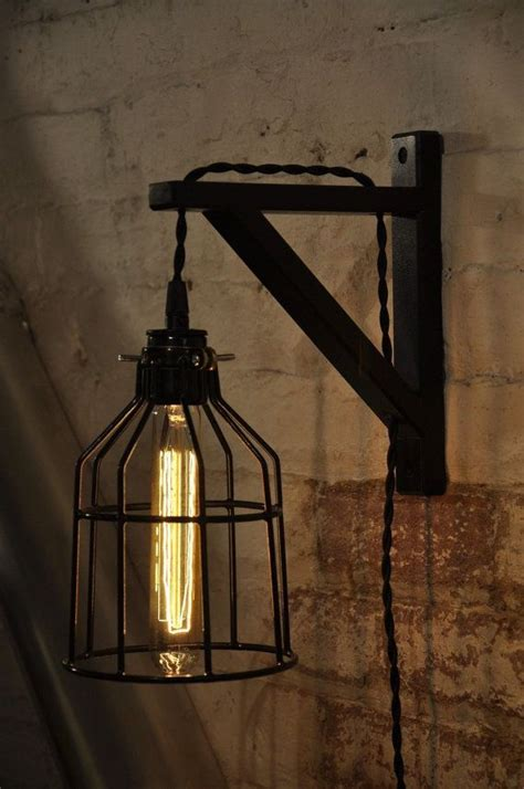 plug in wall sconce bulb guard light light bulb cage