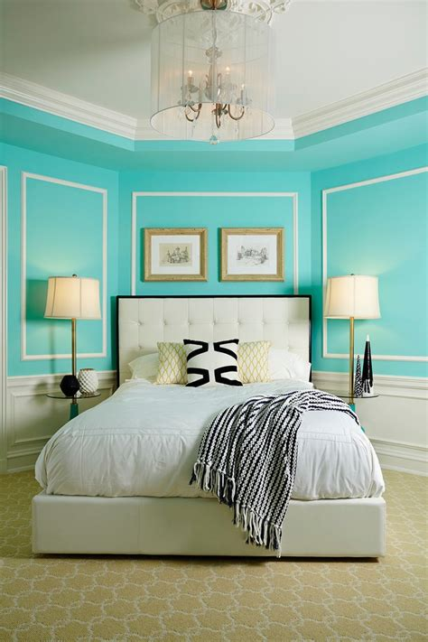 pretty tiffany blue bedroom decor  cozy patterned
