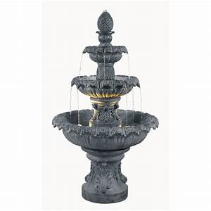 Shop kenroy home costa brava 46 in resin tiered at lowescom for Backyard water fountains