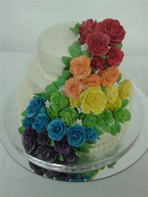 rainbow rose wedding cake cakecentralcom