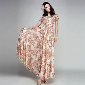 Summer Fashion Women Bohemian Chiffon Long Dress Plus Size ...